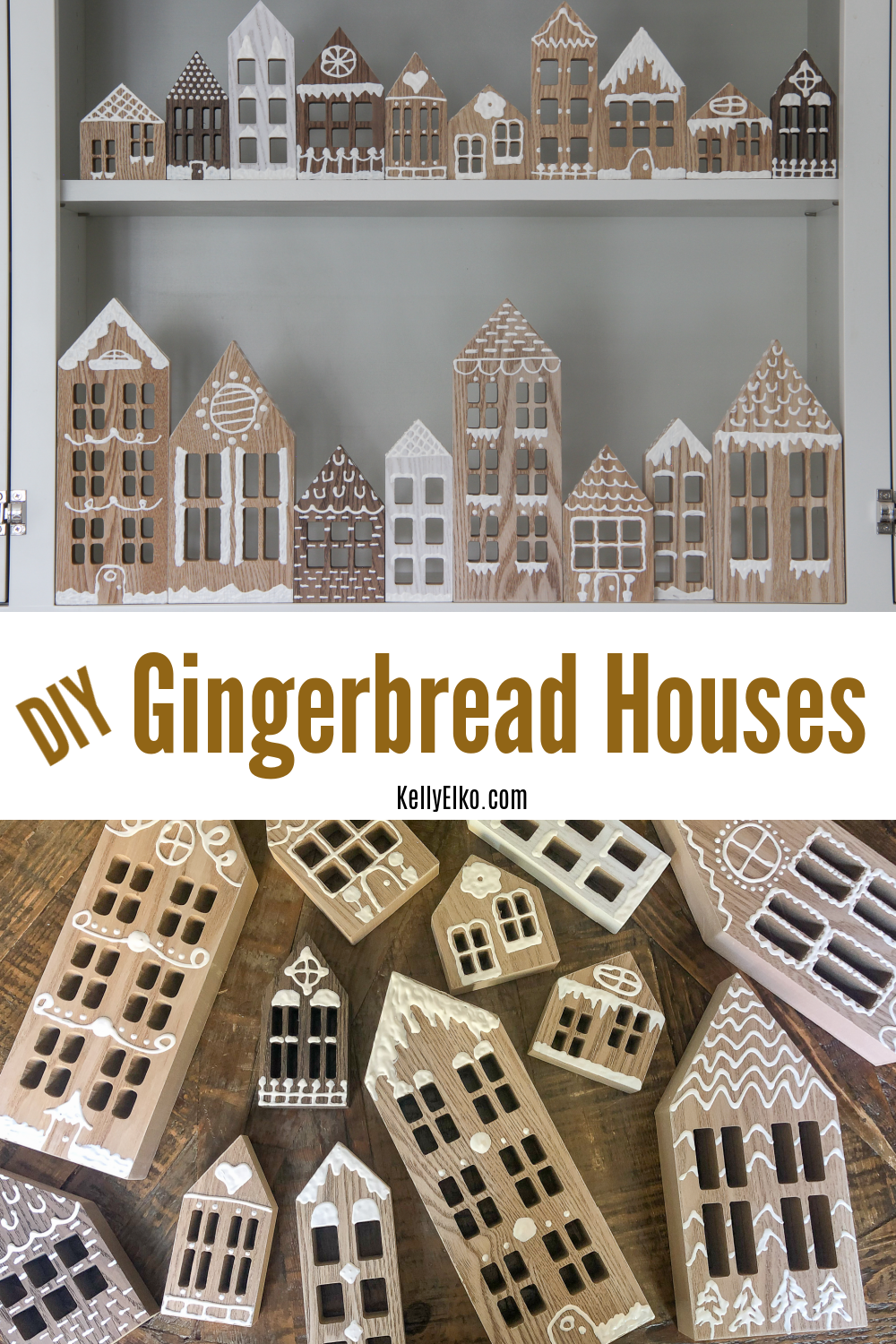 DIY Wood Gingerbread Houses kellyelko.com #christmas #christmascrafts #crafts #kidscrafts #diychristmas #christmasdecor #diychristmasdecor #farmhousechristmas