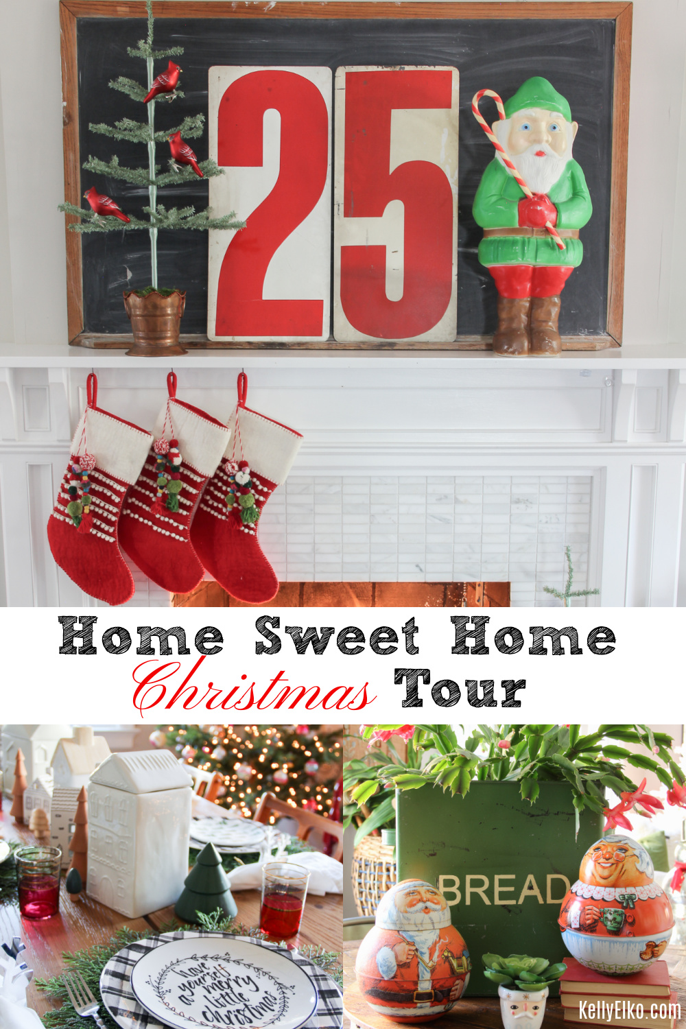 Home Sweet Home Christmas Home Tour - love this creative vintage and colorful tour kellyelko.com #christmas #christmasdecor #christmasdecorating #vintagechristmas #retrochristmas #christmashometour #christmashousetour #holidayhousewalk #farmhousechristmas #christmasmantel #christmastree