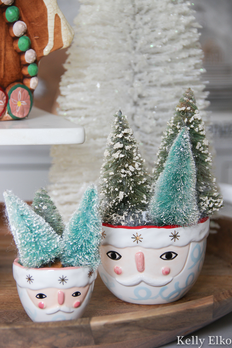 Love these cute little Santa bowls filled with vintage bottle brush trees kellyelko.com #christmas #santa #bottlebrushtrees #vintagechristmas #farmhousechristmas