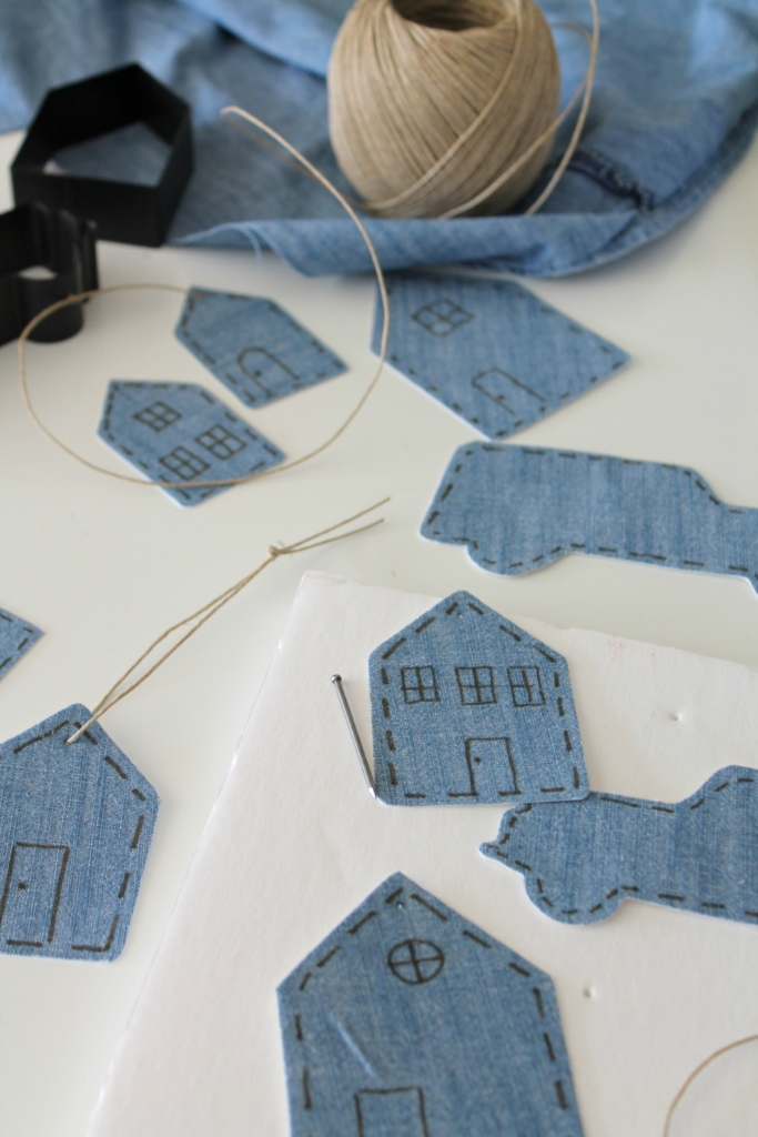 Unique DIY Ornaments - I love that she recycled an old denim shirt