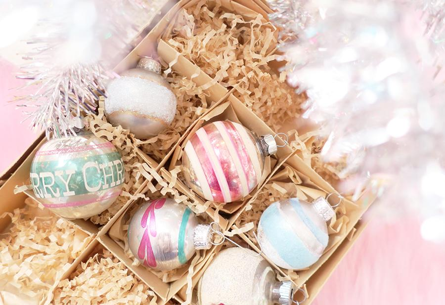Unique DIY Christmas Ornaments - love these new ornaments painted to look like vintage Shiny Brites