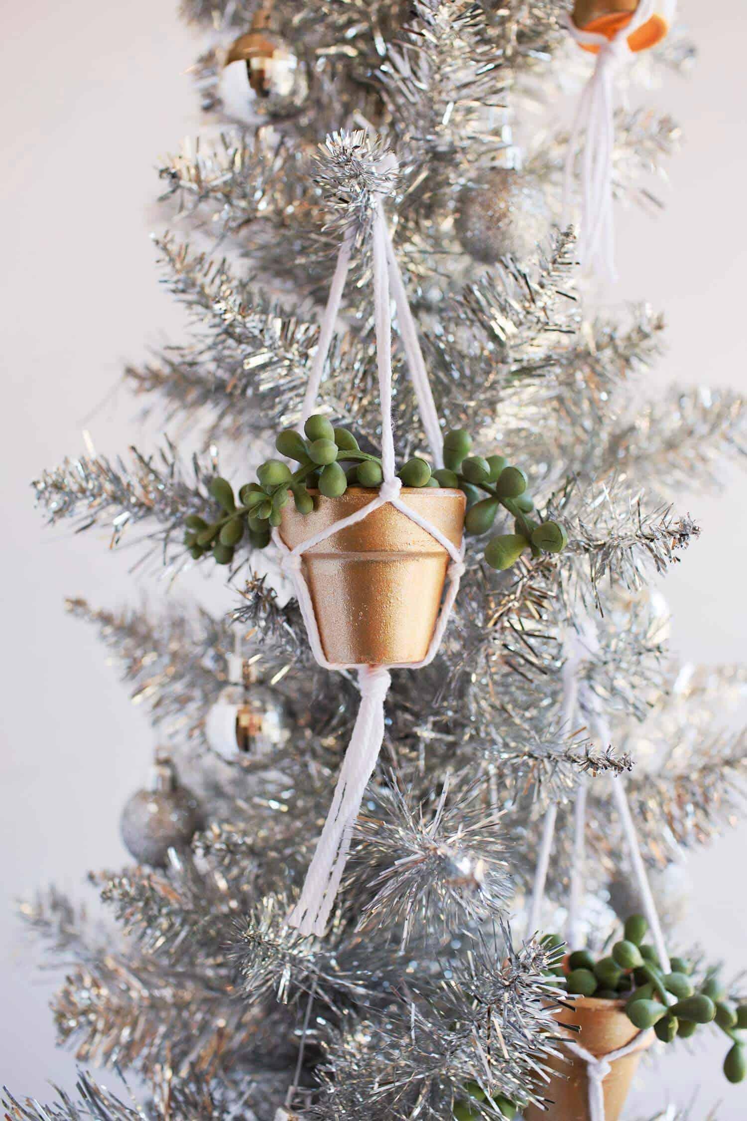 Unique DIY Ornaments - I love these adorable little macrame plant holders