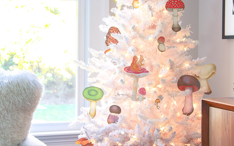 Love this white Christmas tree with DIY mushroom ornaments kellyelko.com #christmas #christmasornaments #retrochristmas #christmascrafts