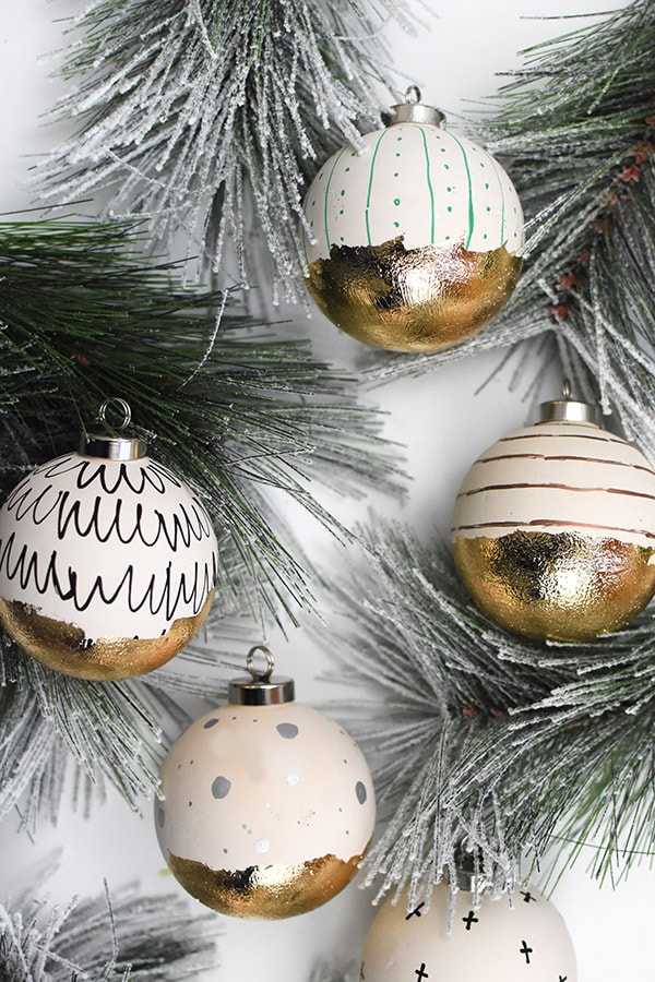 Unique DIY Ornaments - I love the gold leaf on these