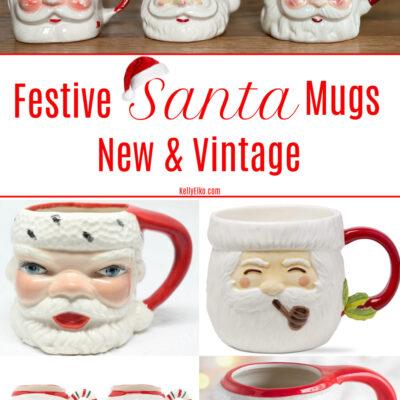 Where to buy festive Santa mugs both vintage and new kellyelko.com #santa #santamugs #vintagesanta #vintagedecor #vintagechristmas #christmasdecor #christmasmugs #christmaskitchen #retrochristmas #christmascollections