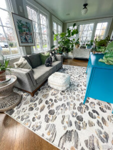 Ruggable Rug Honest Review - kellyelko.com #ruggable #ruggablerug #sunroom #eclecticdecor #leopard #leopardprint #leopardrug #plantslady #houseplants #vintagedecor #jungalow