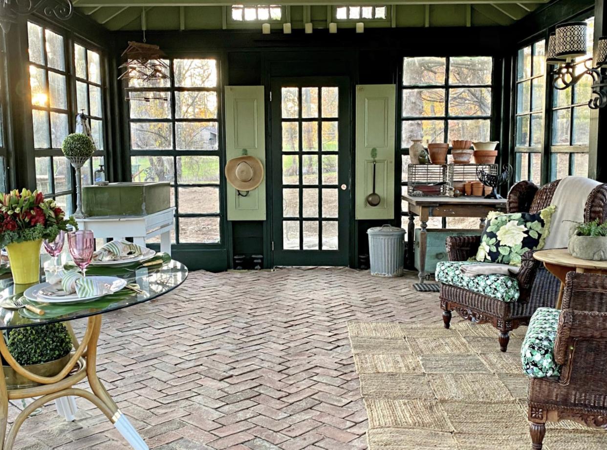 Beautiful she shed greenhouse - love the herringbone brick floor