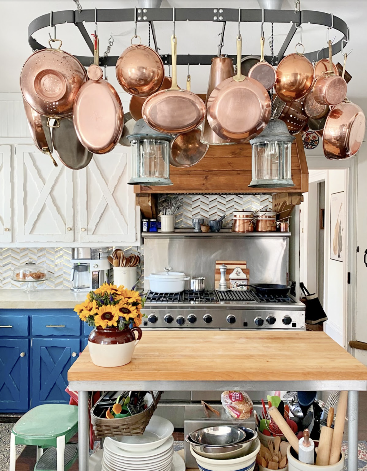 Farmhouse Kitchen Copper Pot Display kellyelko.com