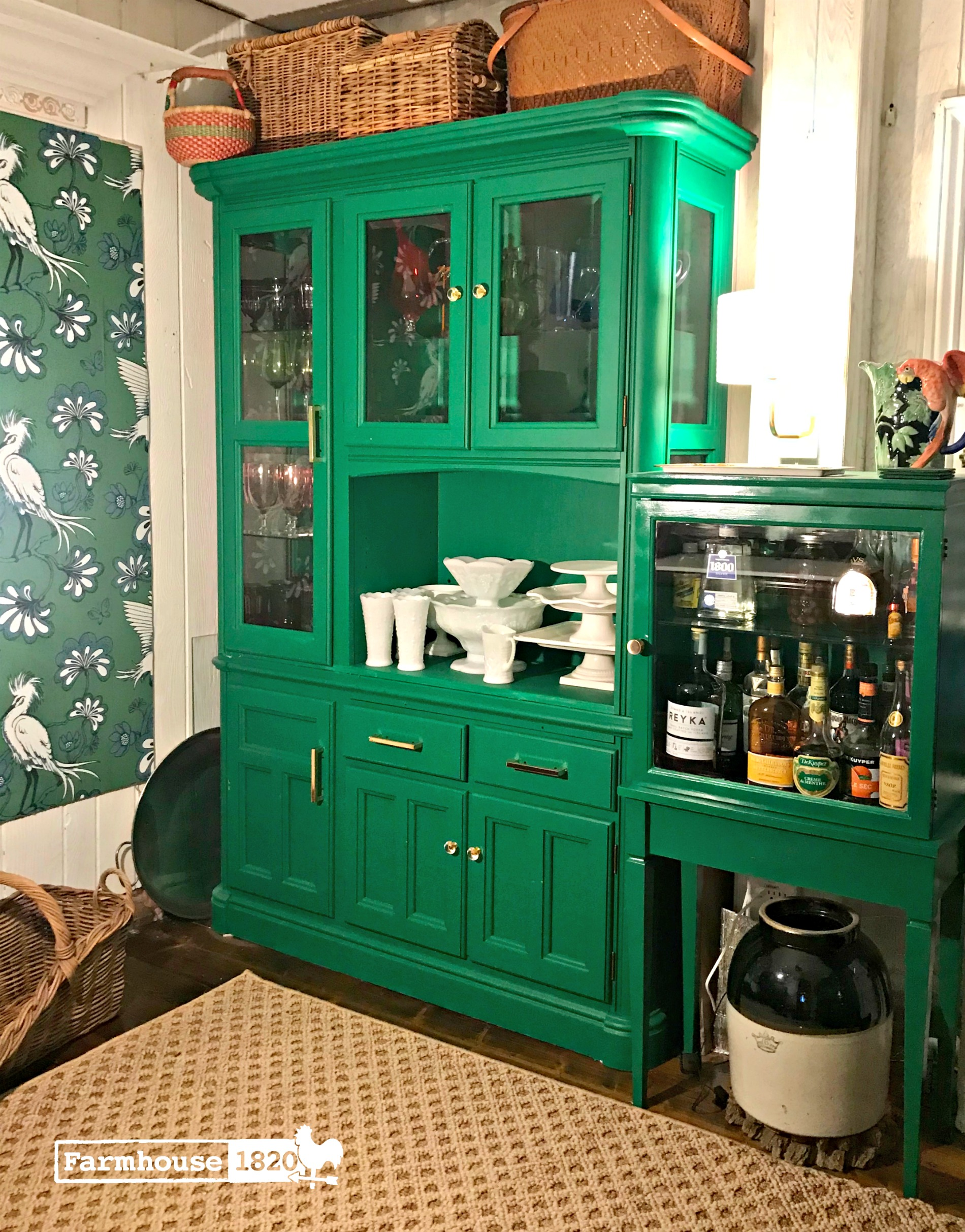 Love this emerald green painted cabinet