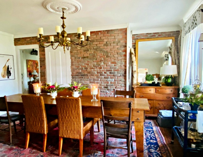 Old farmhouse with original exposed brick walls