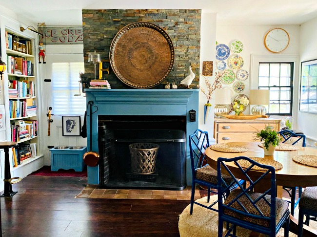 Love this old farmhouse with original fireplace painted blue