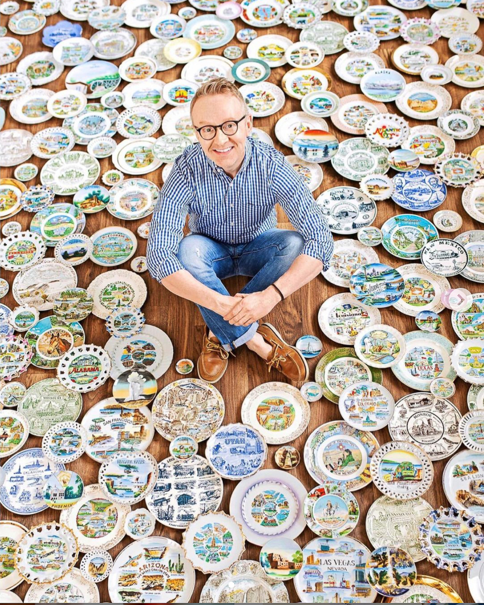 Eclectic Home Tour of Not a Minimalist - see how Daniel Mathis displays his amazing vintage collections including these state plates kellyelko.com