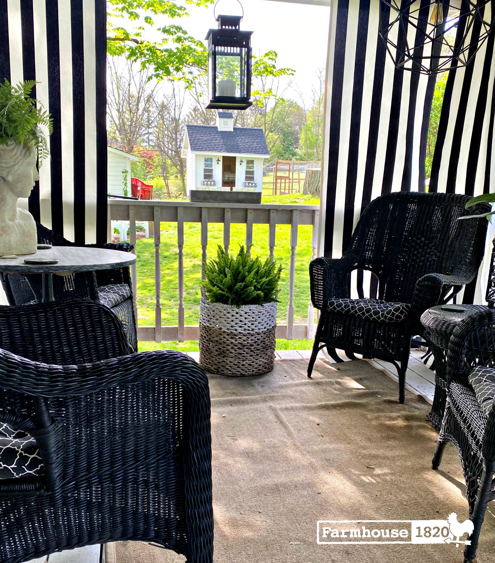 Farmhouse porch with privacy curtains
