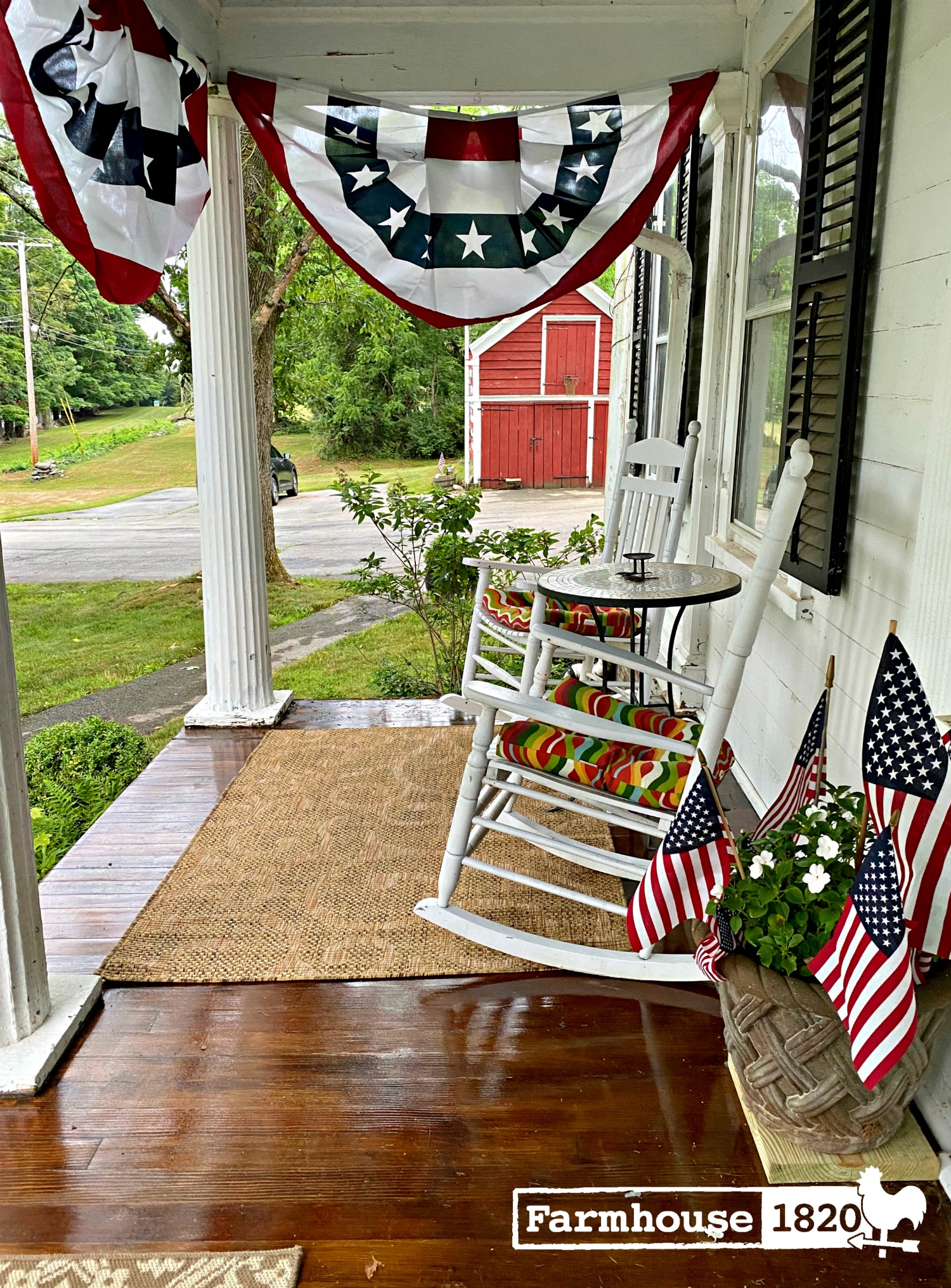 Tour this old farmhouse with charming front porch and big red barn