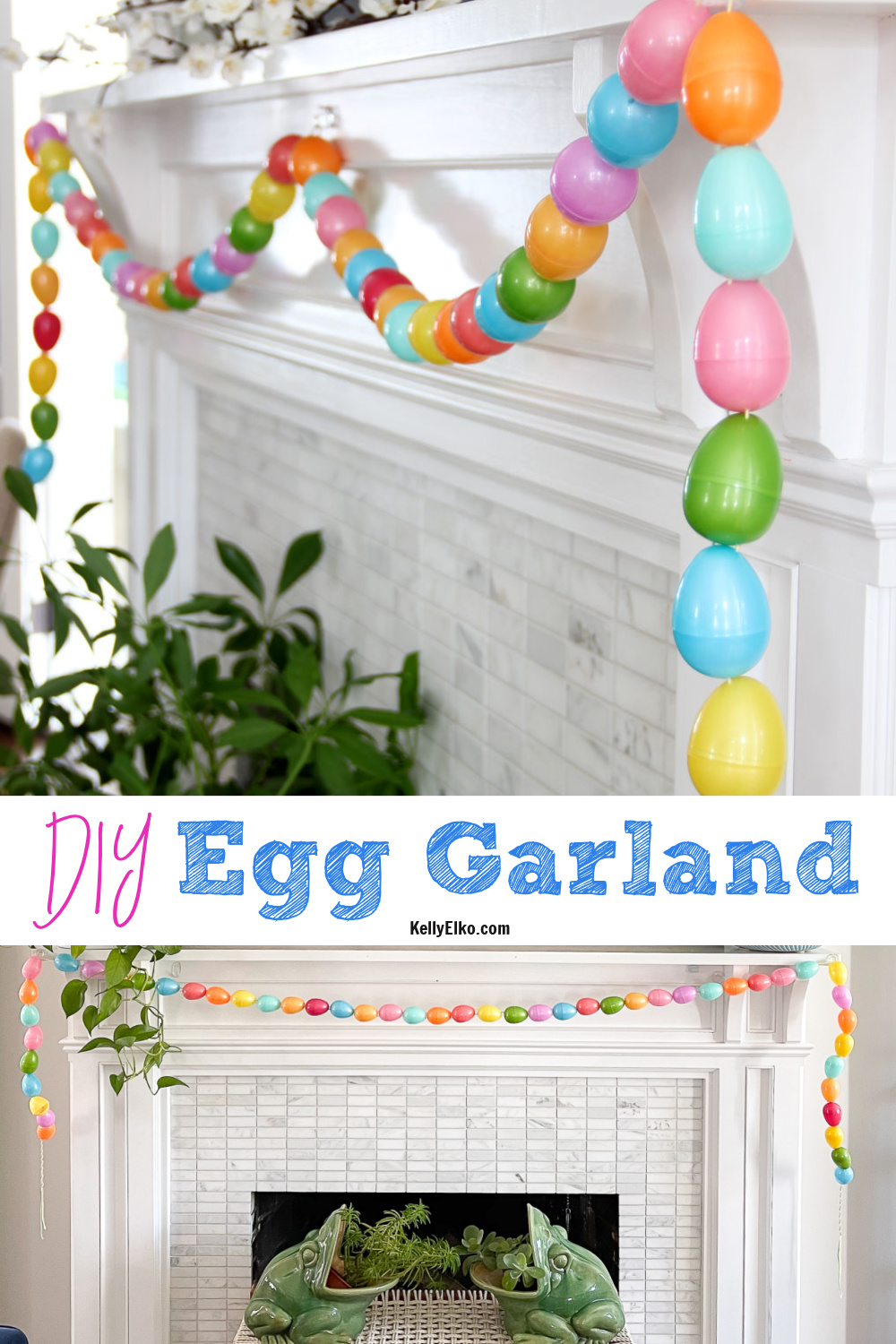 DIY Egg Garland - such a fun spring craft kellyelko.com