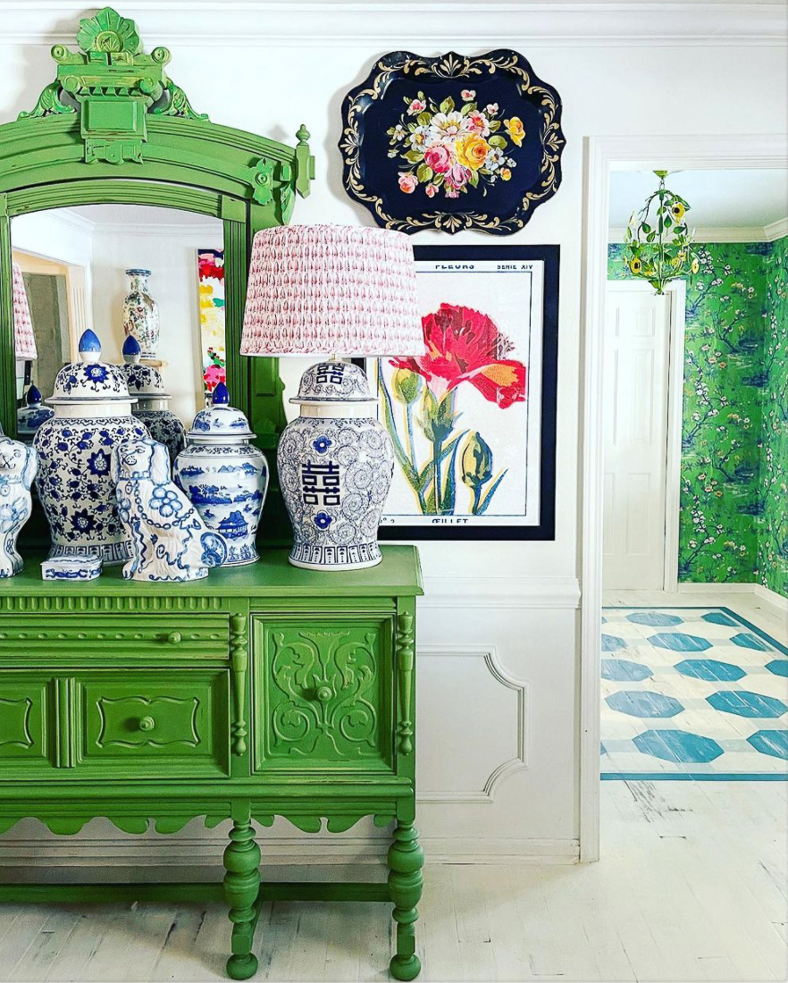 Eclectic Home Tour of Zig and Company - see how she uses paint to create a colorful and whimsical home