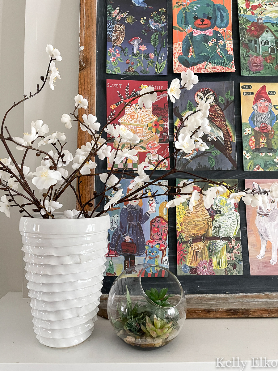 Spring home tour - love the colorful art collage kellyelko.com