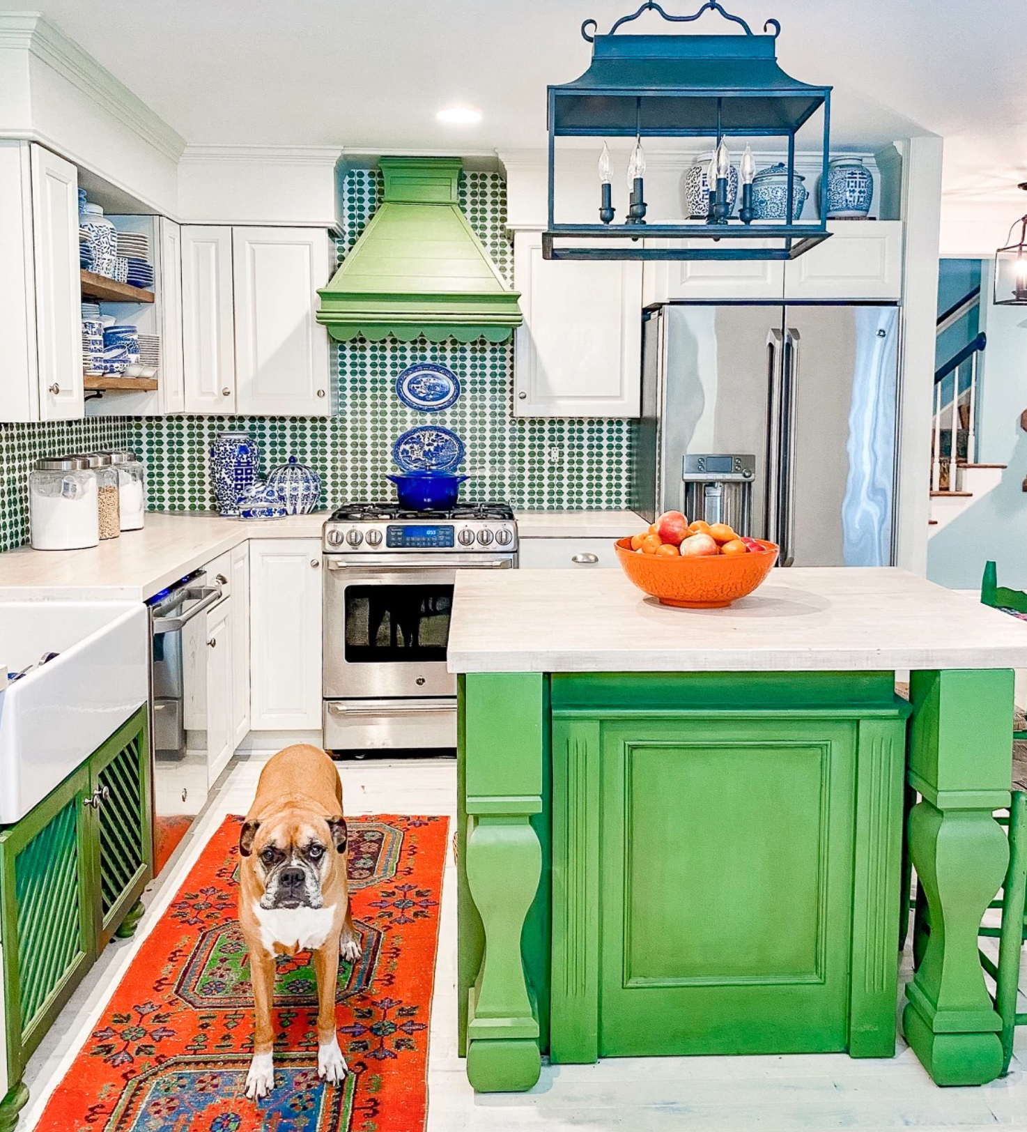 Colorful kitchen makeover - I love the Kelly green paint on the island
