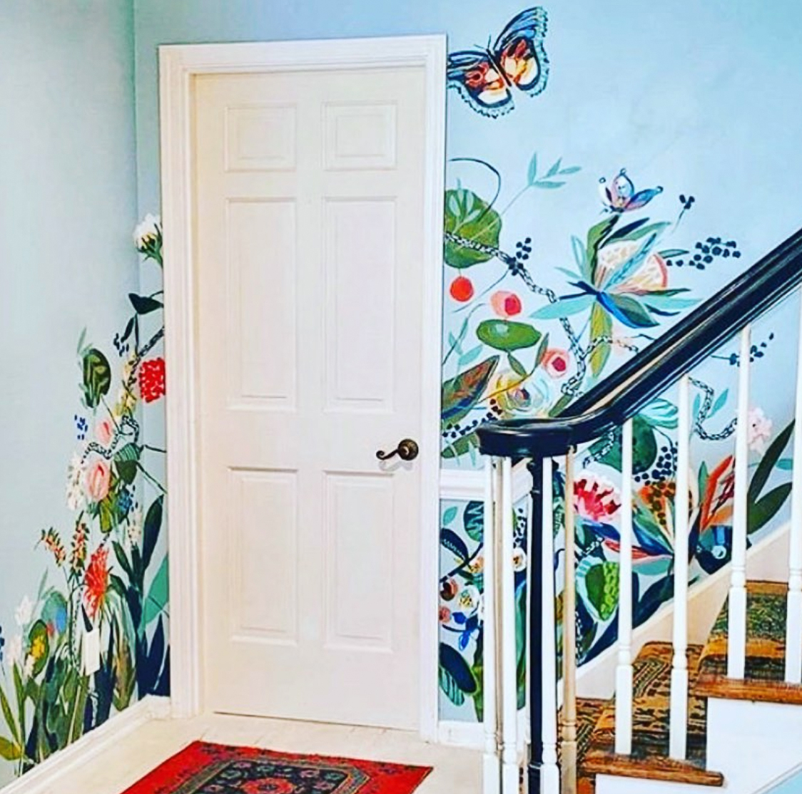 Hand painted mural on the staircase