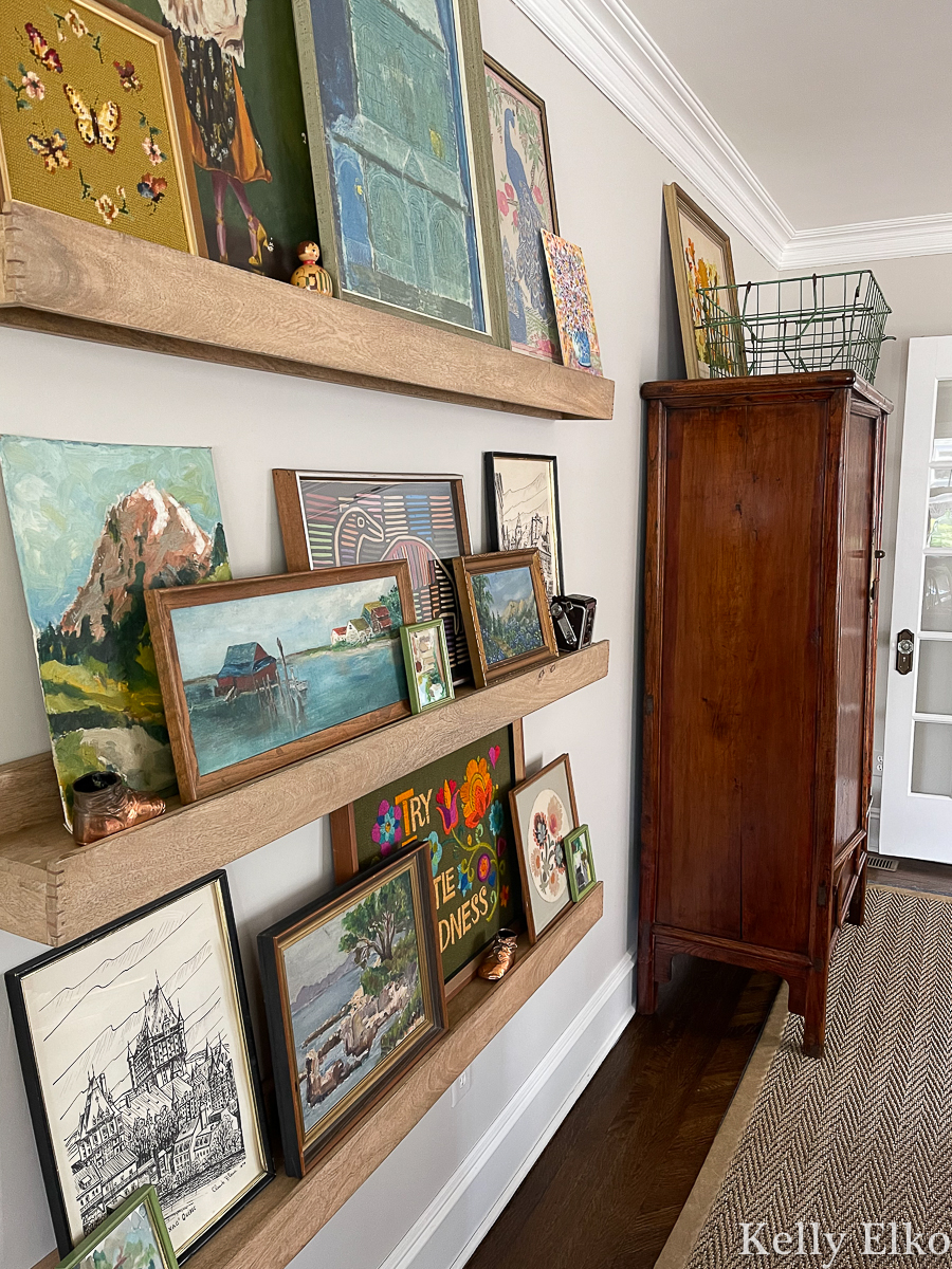 Love this eclectic gallery wall of vintage art kellyelko.com