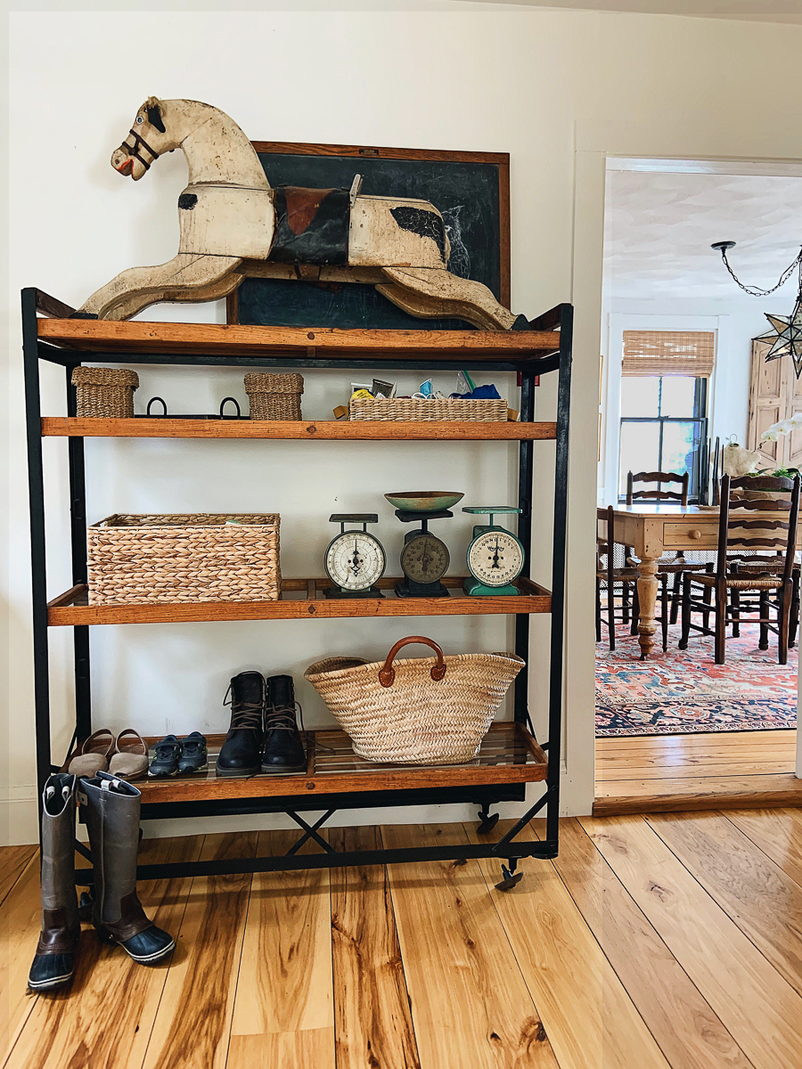 Beautiful display of antique finds on a rolling bakers cart kellyelko.com
