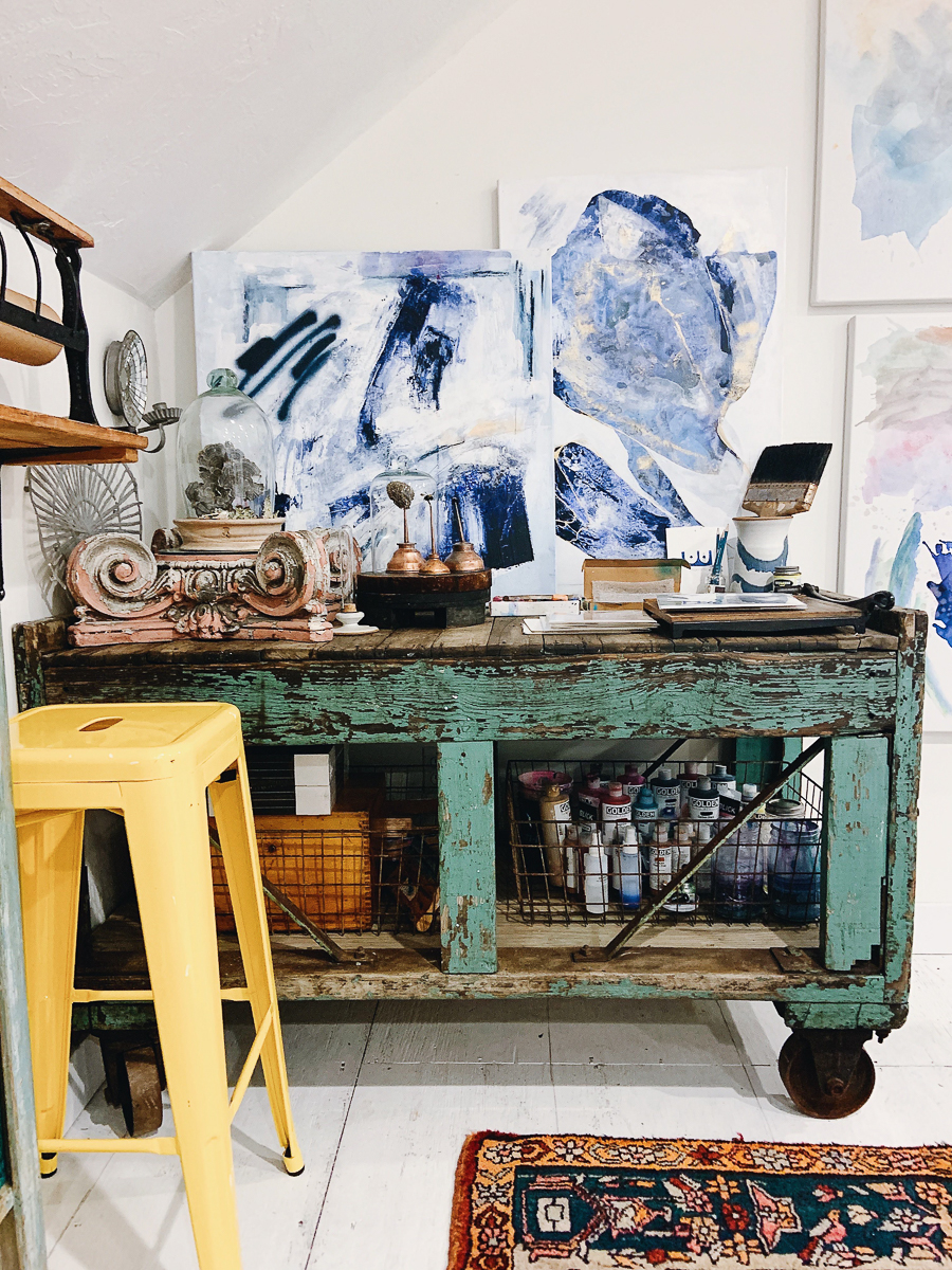 Love the modern art against the antique and architectural finds kellyelko.com