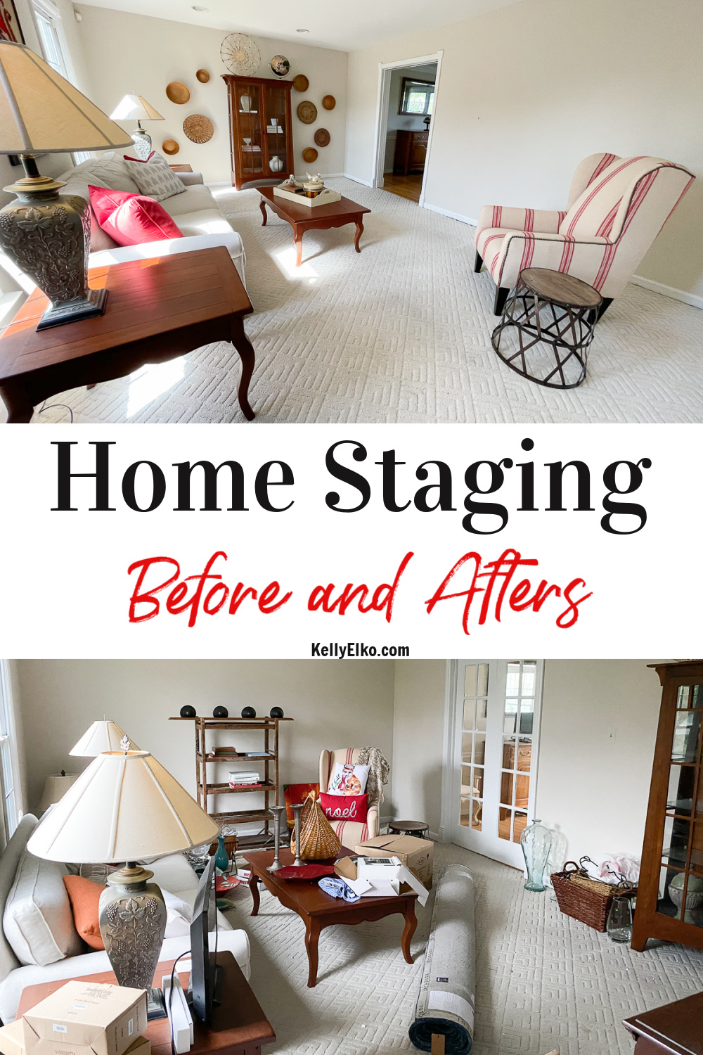 Home Staging Tips - You won't believe the before and after photos! kellyelko.com