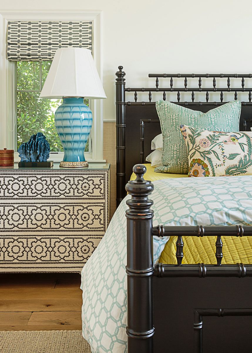 Vintage style bamboo bed and nailhead trim nightstand kellyelko.com