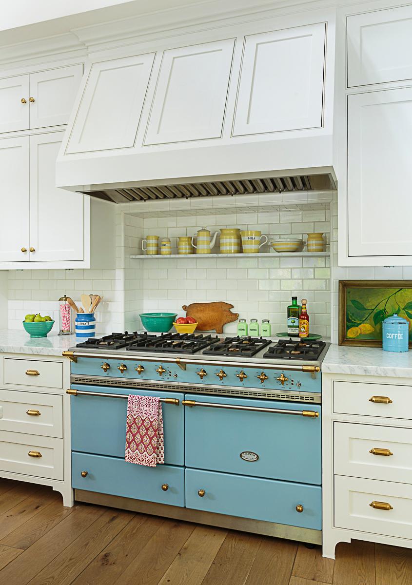 Beautiful blue Lacanche range in this stunning white kitchen kellyelko.com