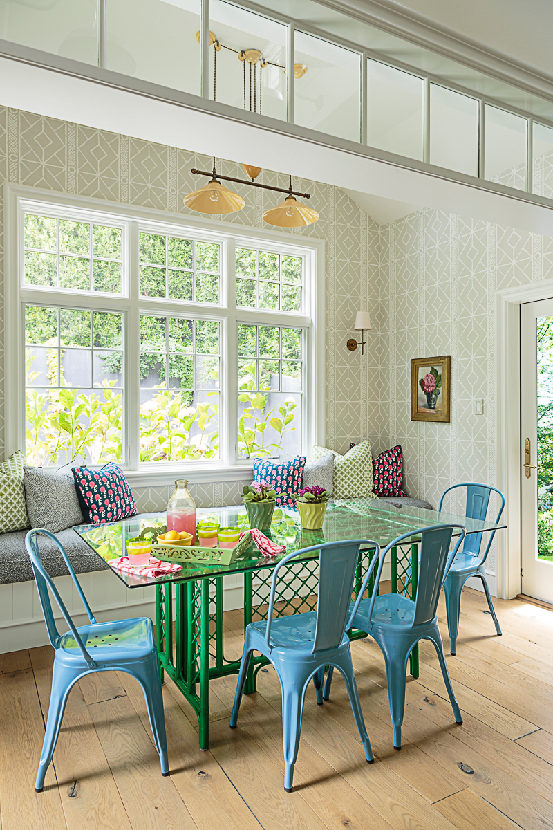 Beautiful kitchen with blue Tolex chairs and vintage green table kellyelko.com