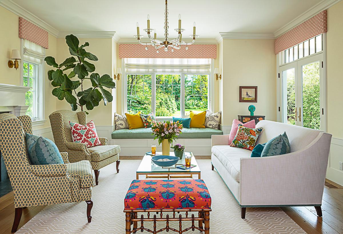 Colorful living room with fun fabrics kellyelko.com