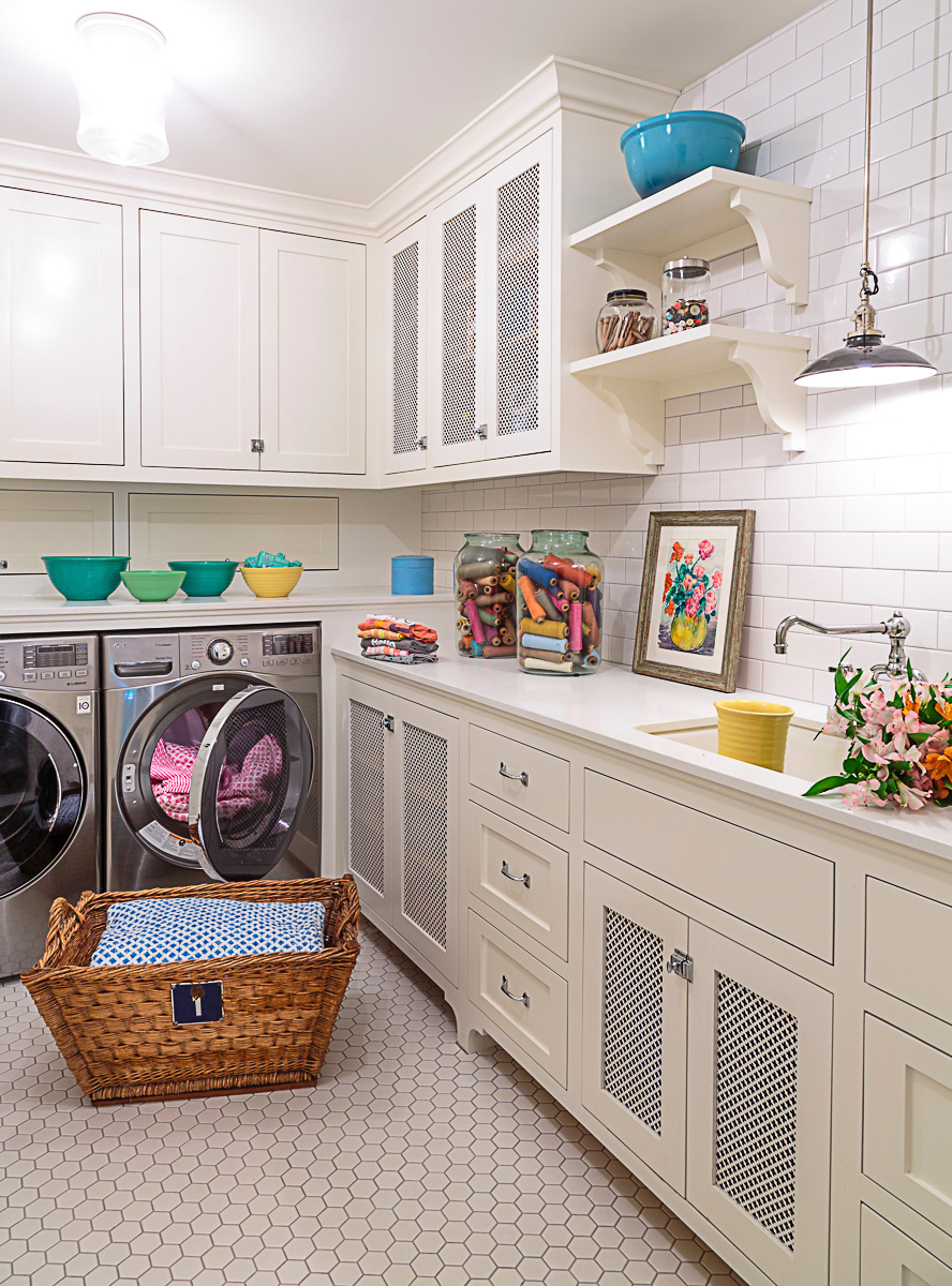 Beautiful white laundry room with sink and open shelves kellyelko.com