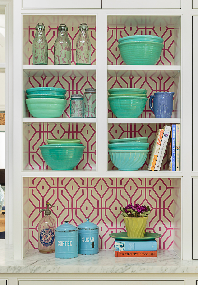 Love the wallpaper on the back wall of these open kitchen cabinets kellyelko.com