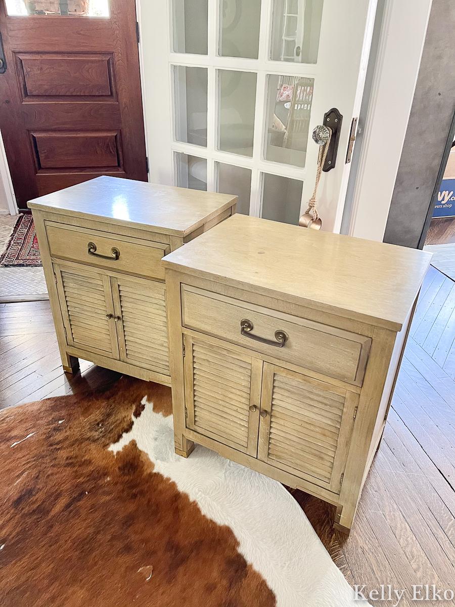 Vintage nightstands before makeover! Wait until you see the after kellyelko.com