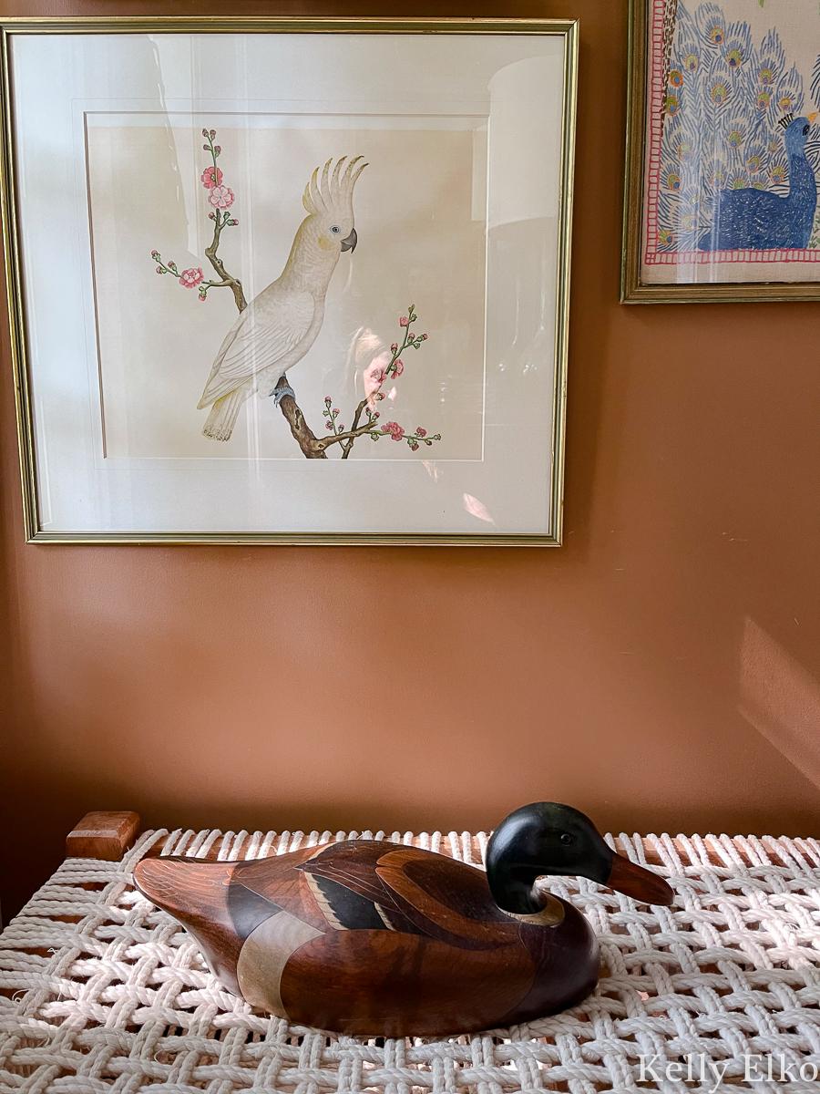 Cute cockatiel art and vintage duck decoy kellyelko.com