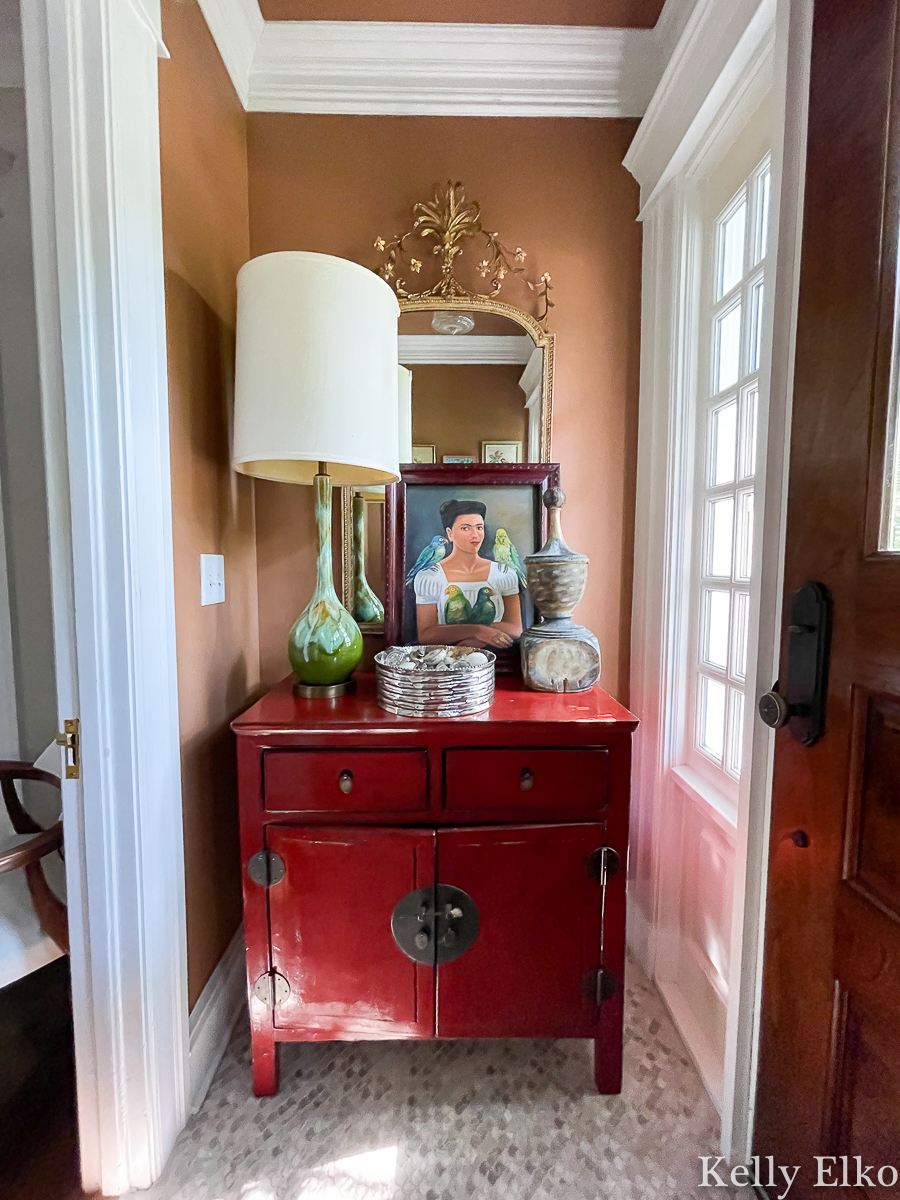 Love this eclectic entry and the all the different eras of decor kellyelko.com
