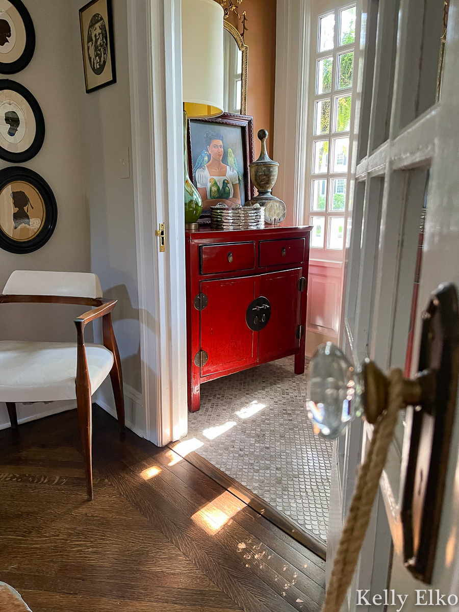 Love this tiny entrance vestibule filled with eclectic decor kellyelko.com