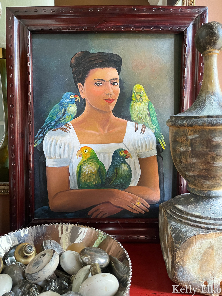 Vintage painting copied from Frida Kahlo's Me and My Parrots kellyelko.com