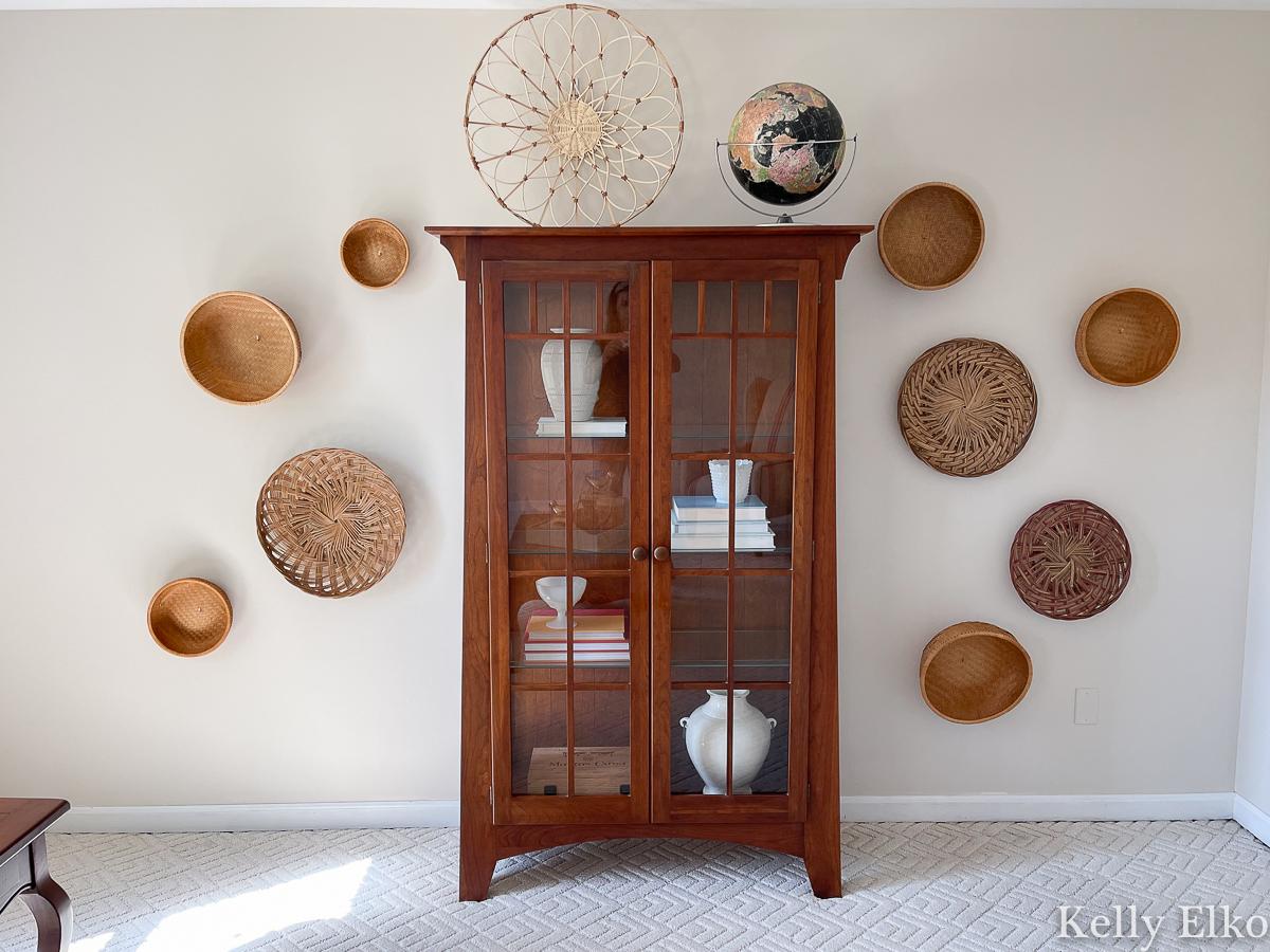 Love this vintage basket boho gallery wall kellyelko.com