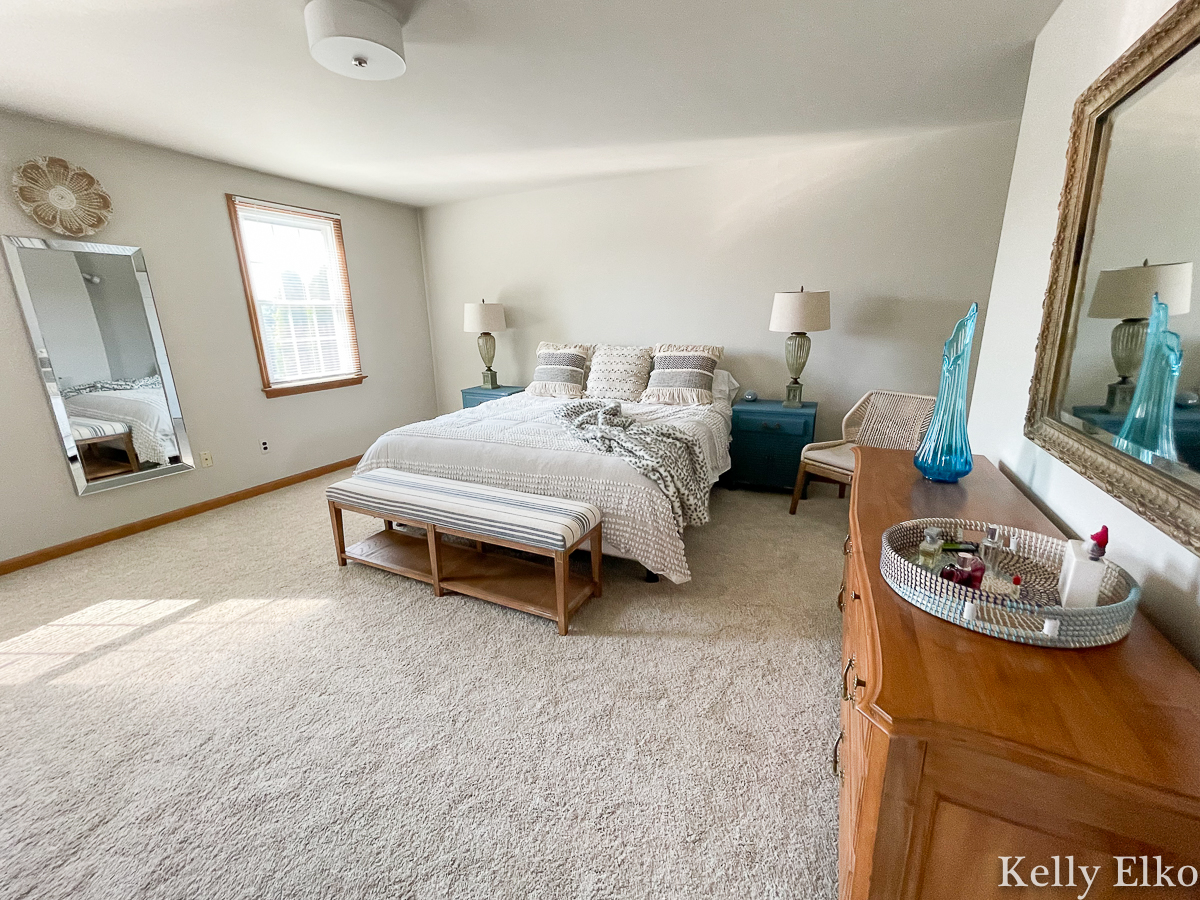 Home Staging After Master Bedroom - love the gray paint kellyelko.com
