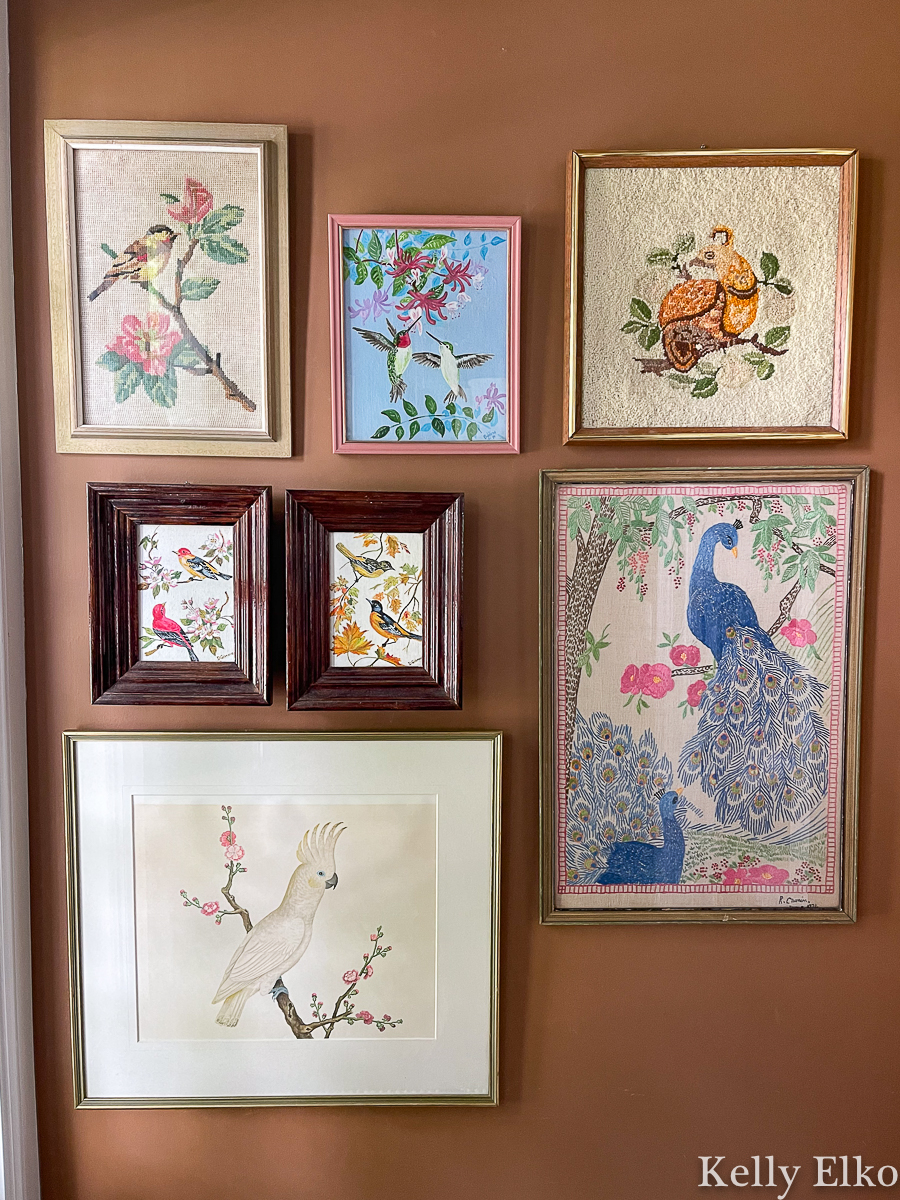 Vintage bird art gallery wall - love the eclectic, whimsical look kellyelko.com