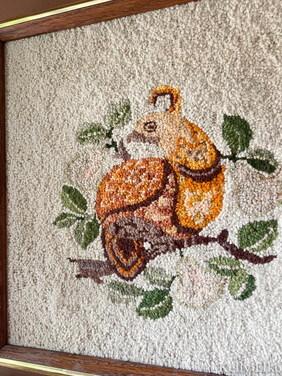Vintage partridge in a pear tree crewel art kellyelko.com