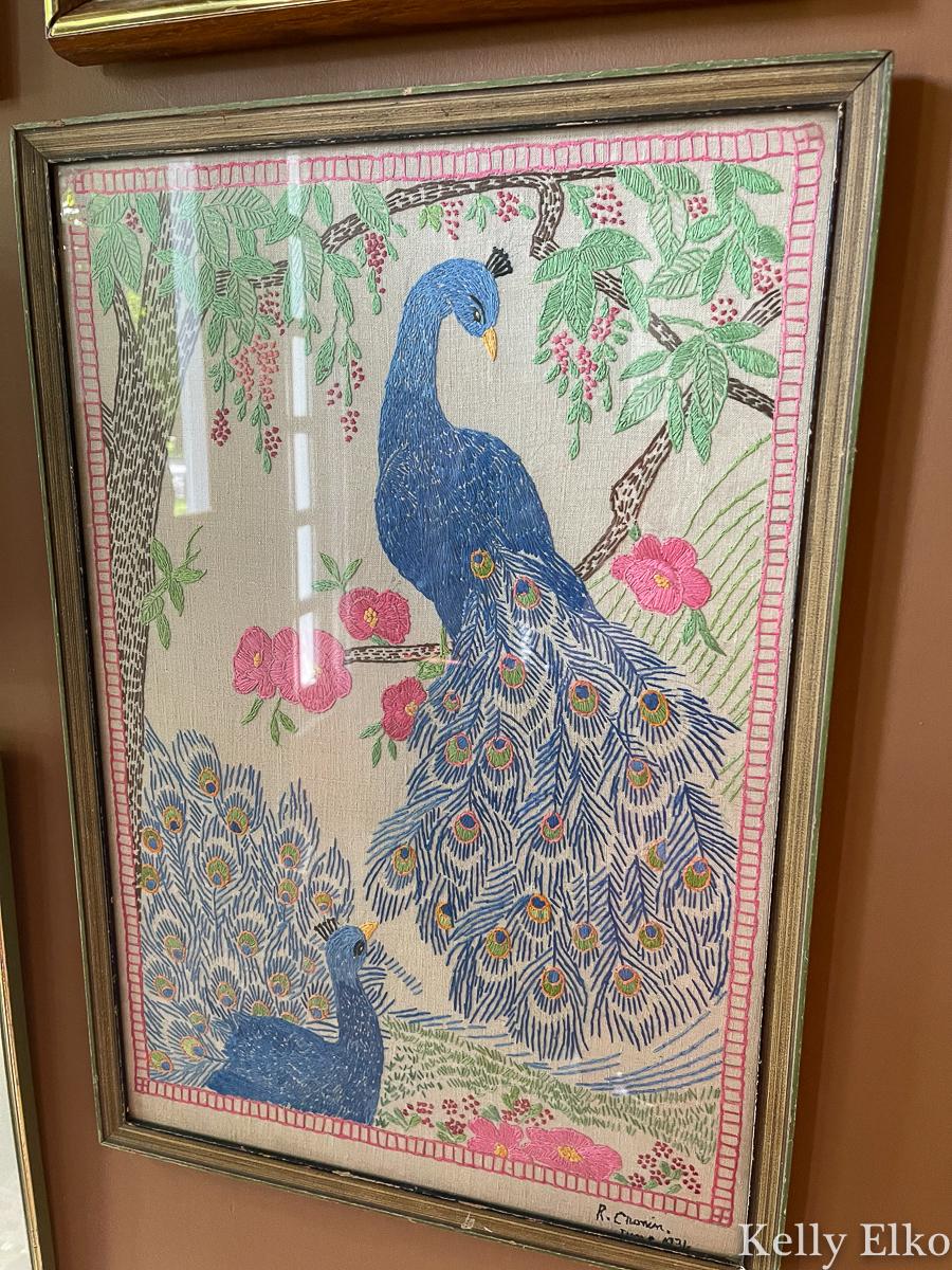 Vintage embroidered peacock art kellyelko.com