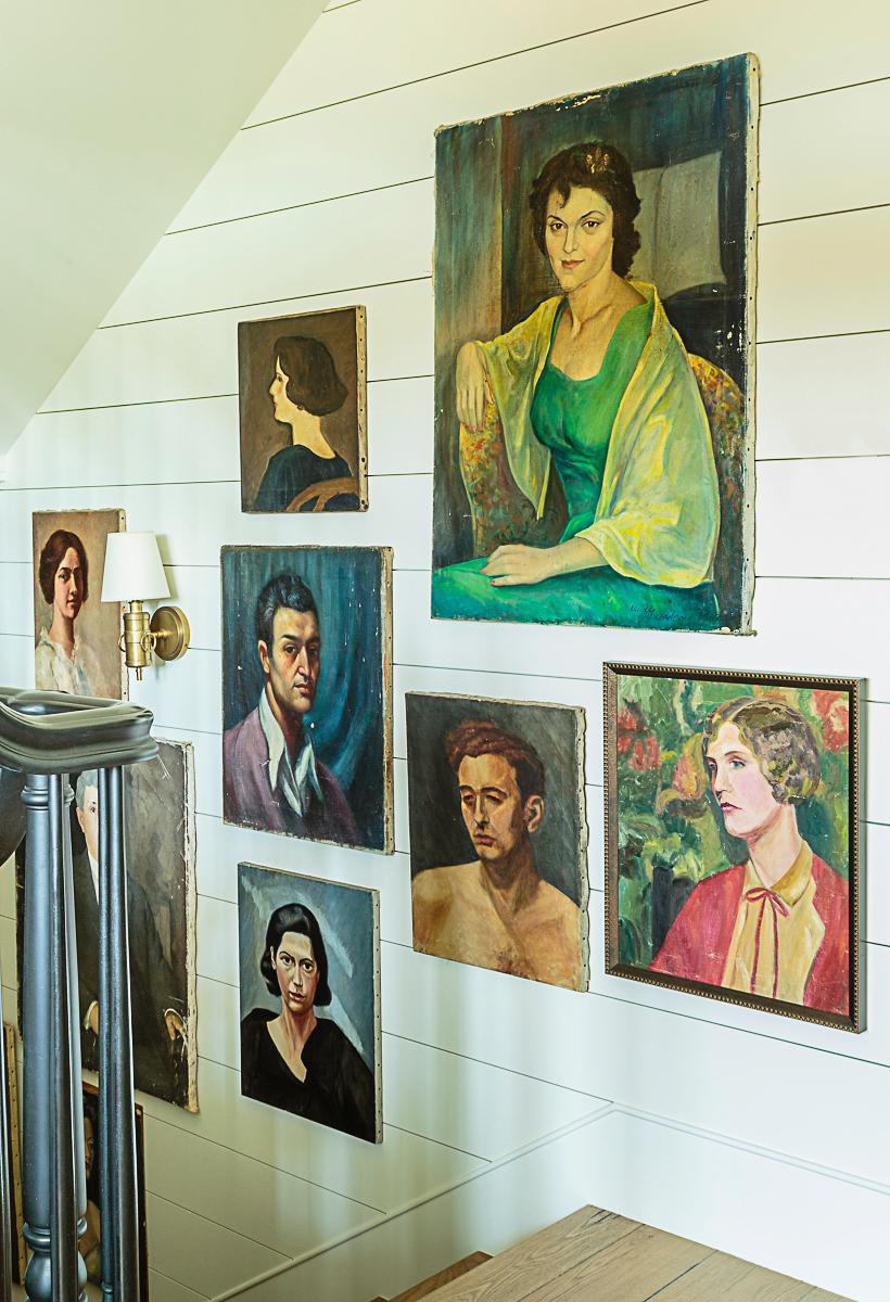 Vintage portrait painting gallery wall kellyelko.com