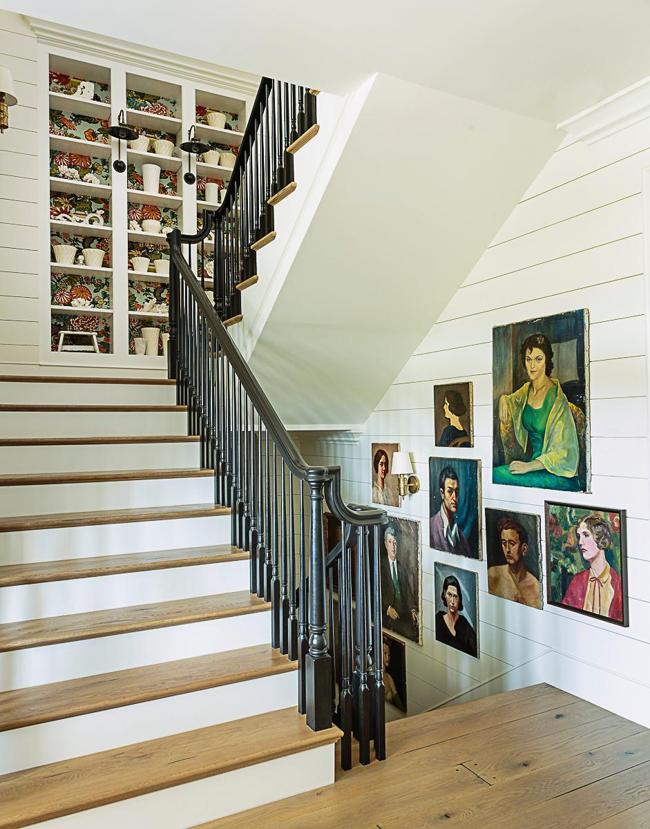 Beautiful staircase wall of vintage portrait paintings kellyelko.com