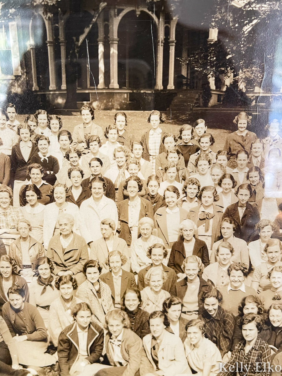 Details from a vintage panoramic photo of an all women college kellyelko.com
