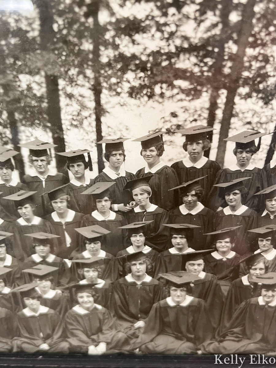 Details of a vintage panoramic photo of a graduating class kellyelko.com