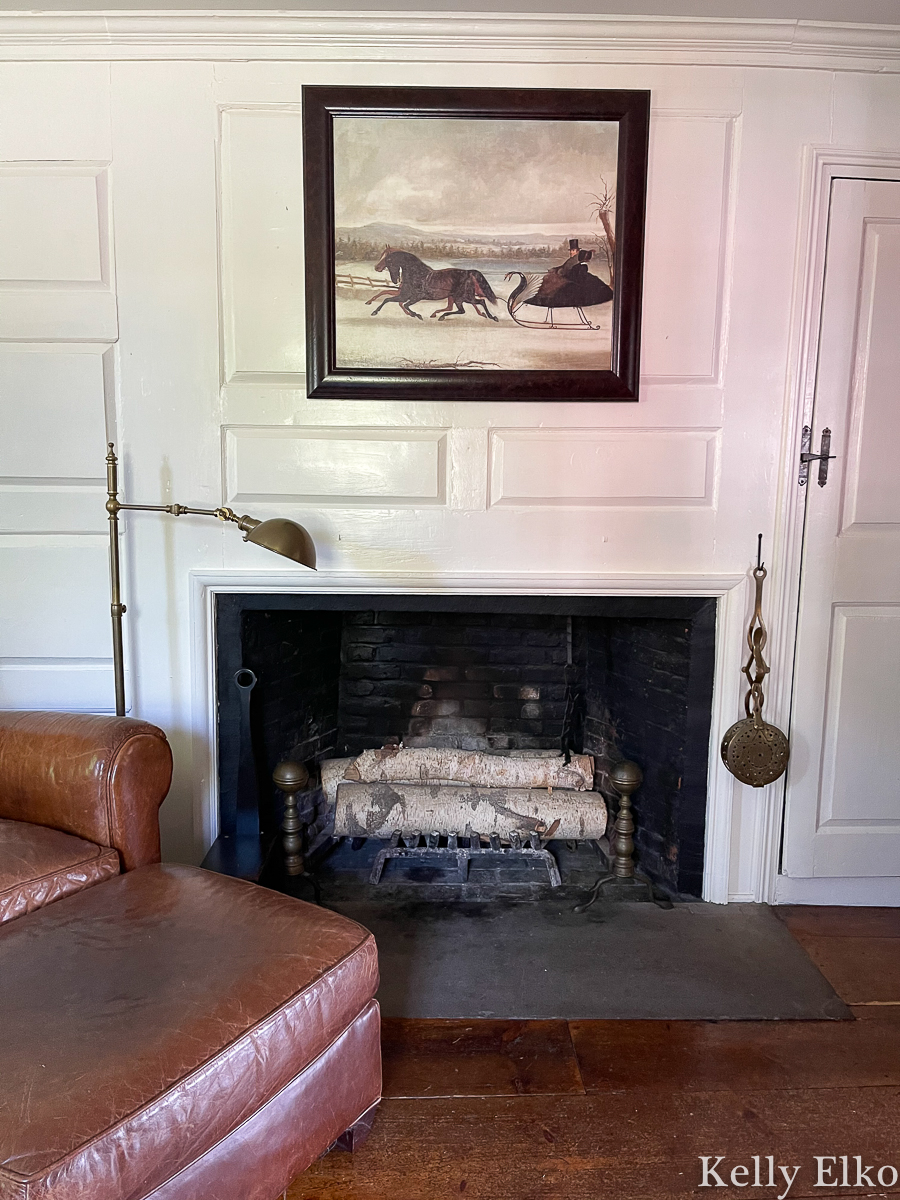 Love this old fireplace and winter painting kellyelko.com