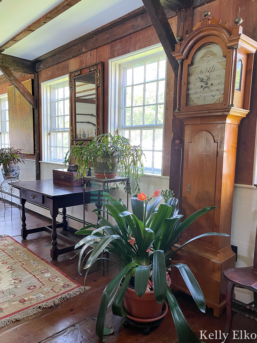 Tour this historic home filled with beautiful antiques like this stunning grandfather clock kellyelko.com