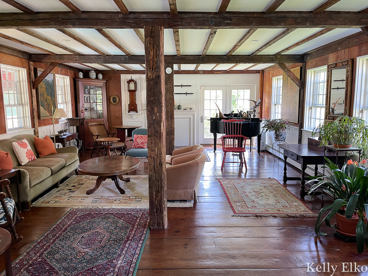 Tour is stunning historic home on Cape Cod that is filled with antiques and original wood beams kellyelko.com